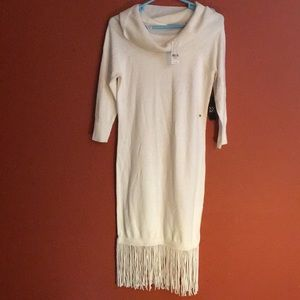 NY&co cowl fringe sweater dress size xs